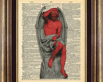 Satan Dictionary page art print book page art print SATAN STATUE Devil up cycled