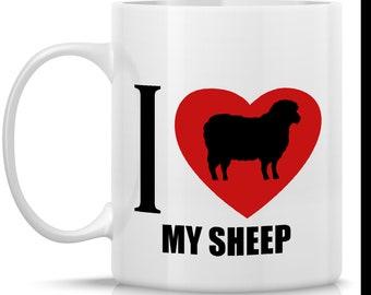Homestead Sheep Coffee Mug - I Heart My Sheep: 11-oz. Porcelain Mug - Farm Animal Theme with Sheep