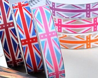 Retail 5 YD 1'' UK flag printed grosgrain ribbon English flag ribbon