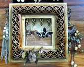 Handmade brown wooden framed jewellery display holder with space for photograph