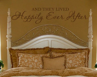 Romantic Wall Decal Bedroom Quote Vinyl Lettering Decor - And They Lived Happily Ever After Wall Art 10H x 48W LO003