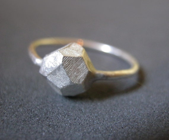 sterling silver rock ring valentines gift faceted jewelry