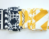 60% OFF Fabric Scraps- Premier Prints Remnants- Yellow and Navy Assortment- Home Decor Fabric Swatches, Cotton Pieces, Material CLEARANCE