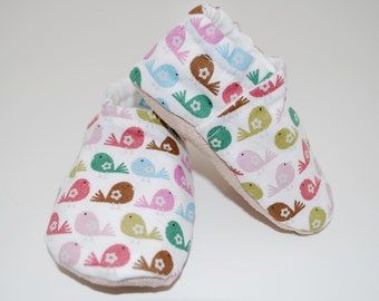 Colorful Birds Soft Sole Cloth Baby Shoe