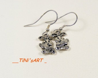 Silver earrings with bunny