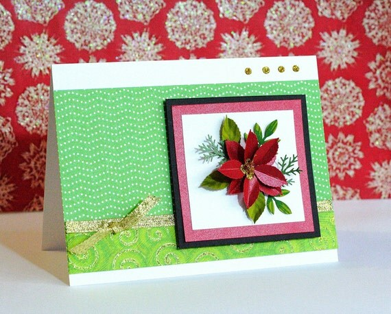 Handmade christmas greeting cards see designs inside red for Christmas cards made