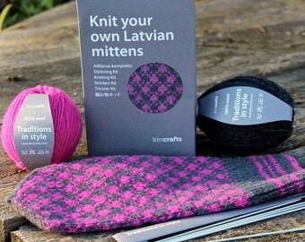 Latvian Mitten Knitting DIY Kit Pink and Grey