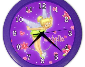 Personalized Tinkerbell Fairy Tink Your Name Wall Clock