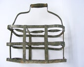 Authentic French Vintage Metal Bottle Rack,Wine Basket,1920s - GrisSourisBrocante
