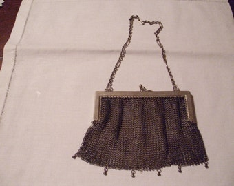 Antique Purse, Vintage Mesh Purse, Silver ring Alpaca Purse, Antique Handbag, Silver Mesh Purse Antique Mesh Purse, Silver Purse