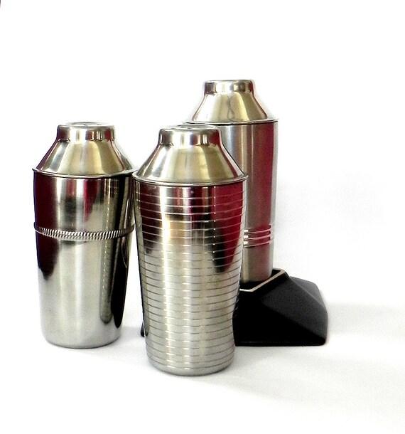 3 vintage cocktail shaker bottles salt and pepper by zenbao. Black Bedroom Furniture Sets. Home Design Ideas