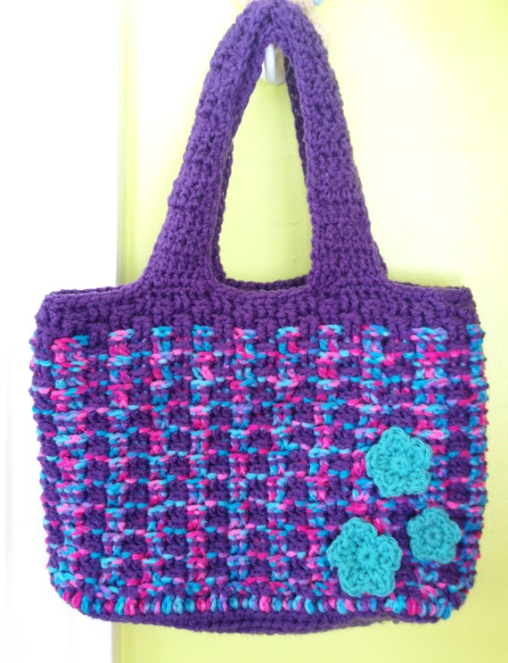 The Abby - Crocheted Tote with Floral Accents - purple / cotton candy