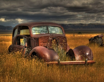 Left to Rot--car, Bosler wyoming, field, clouds, fine art, 8x10, photography