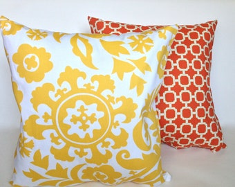"""Yellow geometric Suzani floral and orange """"Swavelle Hockley"""" lattice trellis accent pillow cover set with zippers, 18x18."""""""