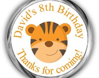 Tiger Birthday Hershey Kisses Stickers - Personalized Birthday Sticker