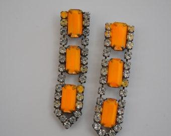 neon, rhinestone earrings