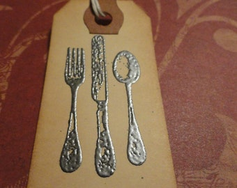 Silverware Tag, Christmas Tag, Food Tag, Decorative Tag