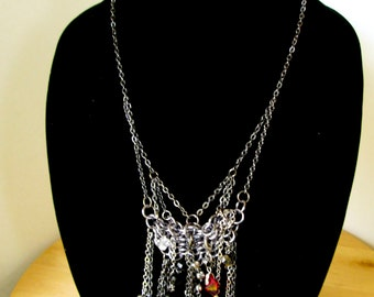 Chain mail necklace with Genuine Swarovski crystals rocker goth detachable charm Rosemary Lucy Designs jewelry women