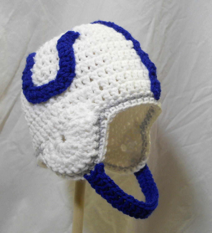 Crochet Baby Football Helmet Hat Pattern : Indianapolis Colts Crochet Football Helmet Hat by CDBStudio