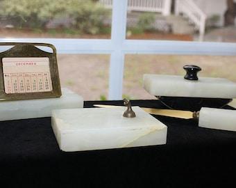 Vintage Ivory Marble Office Desk Set