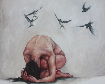 Original Figurative Oil Painting, woman birds hands and back