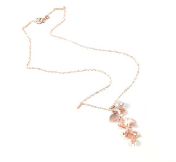 Rose Gold Triple Orchid Flower Necklace -  simple rose gold filled necklace with triple orchids, Wedding, bridesmaid, best friends -N0009RG