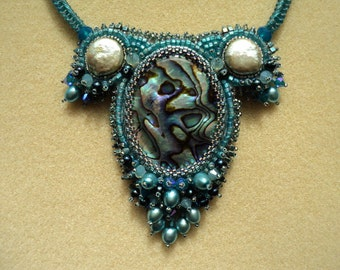 Bead Embroidery, Abalone, Freshwater Pearl, Pearl Necklace, Seed Bead, Jewelry