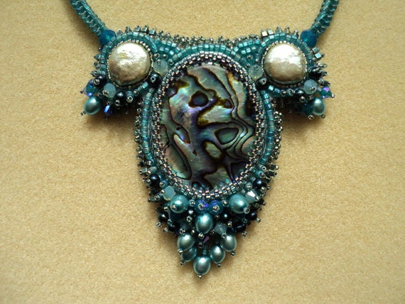 Bead Embroidery Abalone Freshwater Pearl Pearl Necklace