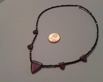 Purple triangle glass bead necklace