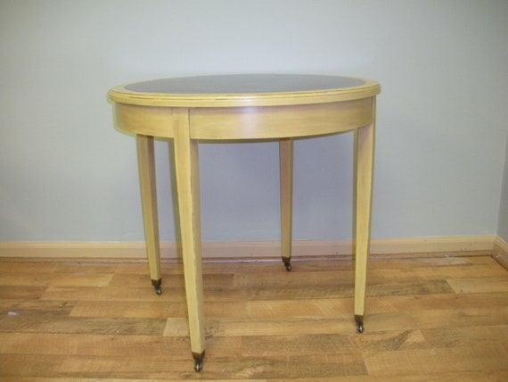 Vintage Leather Top Side Table