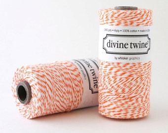 SALE - Orange Bakers Twine - Orange Divine Twine - Orange Cotton Twine - Gift Wrap - 240 YD Spool - 50% off