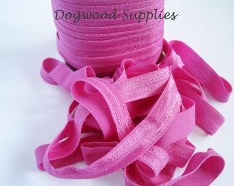 5 Yards 5/8 Rose Pink Elastic, Satin Elastic, Shiny Elastic, Baby Headband, FOE, Foldover Elastic, foe