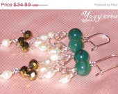 SALE 10% Off Pearl gold green agate chandellier silver earrings jewelry gift