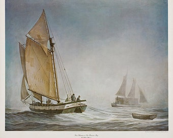 Scow Schooners on San Francisco Bay signed by artist