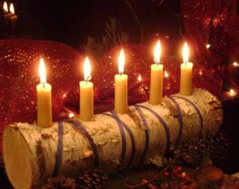 YULE LOG--White birch log-- a rustic  candle holder with style
