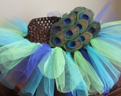 Peacock Tutu-Aqua, Blue, Lime Green and Brown Tulle