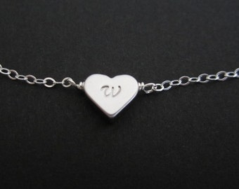TWO Bridal Bracelet Set: TWO Personalized Silver Heart Bracelet. Initial Heart Bracelet Set. Sterling Silver Bridemaid. Wedding Party Gift