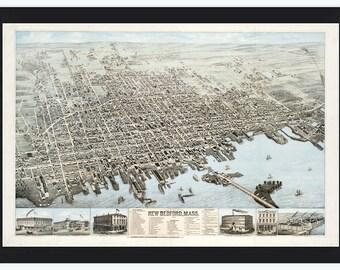 New Bedford BirdsEye View Massachusetts 1876