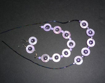 Purple necklace, earring and bracelet set