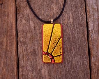 Dichroic Fused Glass Sunburst Necklace