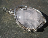 Delicate Rose Quartz Pendant Wire Wrapped in Sterling Silver