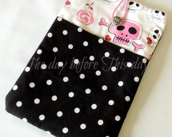 CLEARANCE!  Pink skulls dots  iPad mini/ Kindle Fire/ Galaxy Tab/ Nook/ Kobo/ Sony Pocket/ Ereader sleeve-case-cover Custom Boutique DM