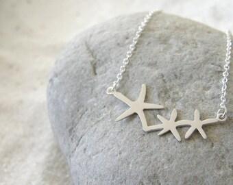 Silver Starfish Necklace, Triple Starfish, Beach Wedding, Modern, Silver Necklace, Birthday gift, Friend Gift