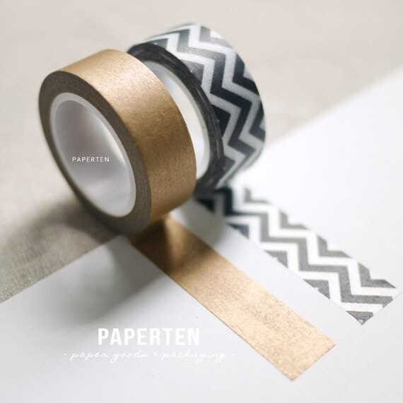 Chevron black metallic gold washi tapes packaging by paperten for Tape works decorative tape