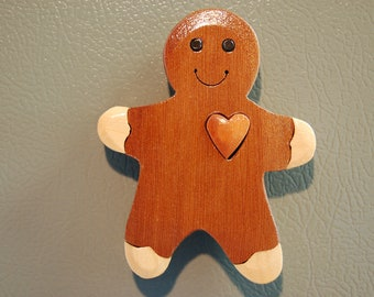 GINGERBREAD MAN  MAGNET  Wood Carving