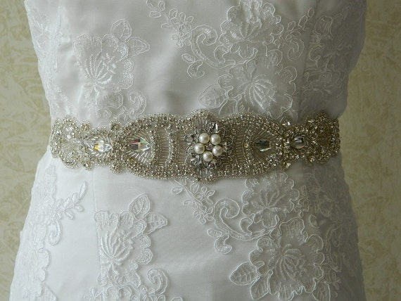 Wedding sash, Bridal belt , Bridal sash - satin ribbon with crystal and rhinestone beaded applique sash- Sabrina  2 Ivory Satin Sash