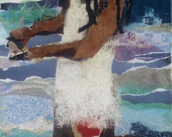 African American, Caribbean Art, limited edition of offset litho of original collage, Negril, Jamaica, FROM THE SEA,  by Ramona Candy