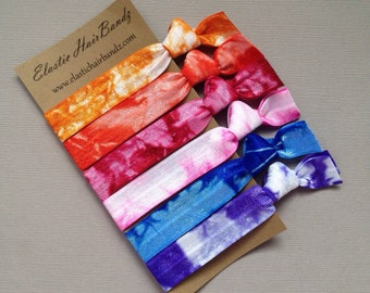 Tie Dye Hair Ties - Elastics // The Sally Collection - Ponytail holder - Hair Accessory