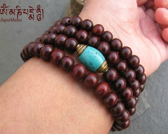 Rosewood Wrap Bracelet Mala with capped turquoise guru bead purified & blessed mala