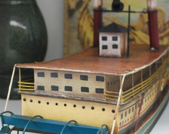Rare Vintage Mississippi River Boat Replica Nautical Cottage Chic FREE SHIPPING